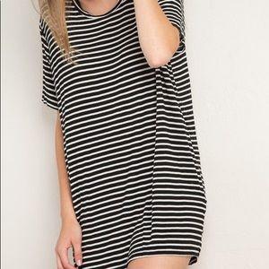 Brandy Melville Navy White Striped Tshirt Dress